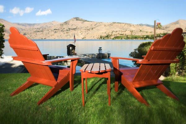 chairs overlooking lake