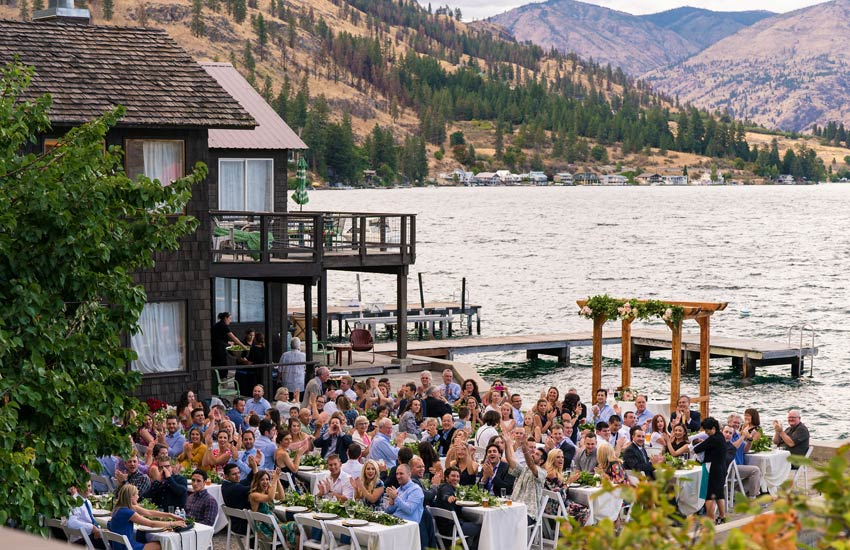 Wedding Guests at Kelly's Lake Chelan wedding venue