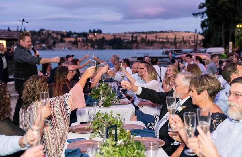 wedding guests cheering Lake Chelan wedding venue