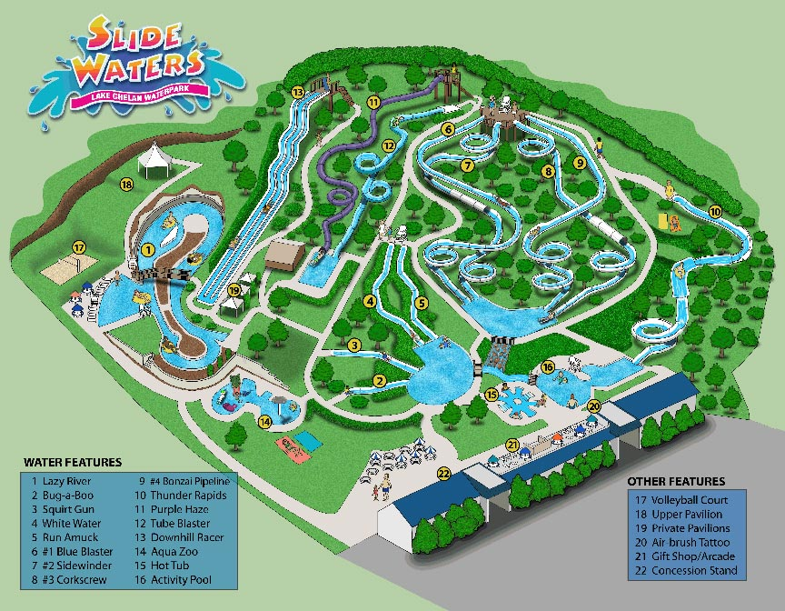 Slidewaters Lake Chelan water park map